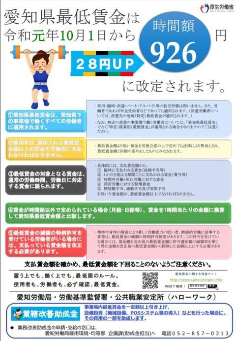 愛知県の最低賃金は令和元年10月1日から926円に改定されます