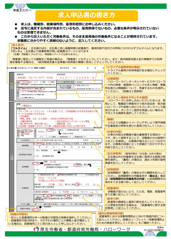 求人申込書の書き方(2020年1月6日新様式対応)