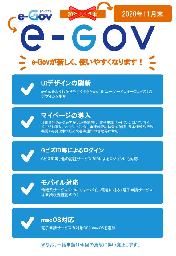 2020年11月末 e-Govが新しく、使いやすくなります!