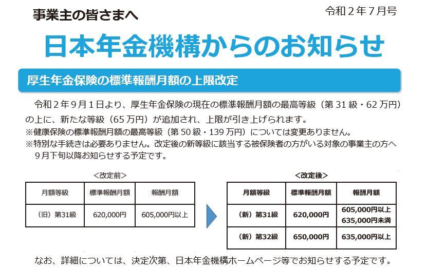 厚生年金保険 標準報酬月額上限額 65万円へ引上げの案内開始