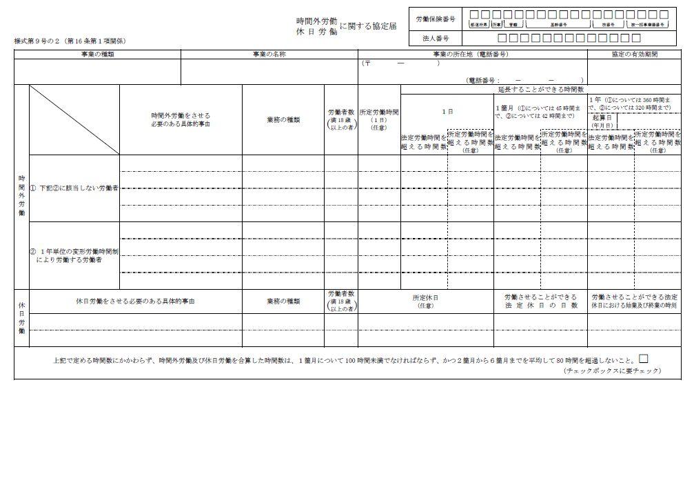 時間外労働・休日労働に関する協定届(特別条項/2021年4月1日以降版)