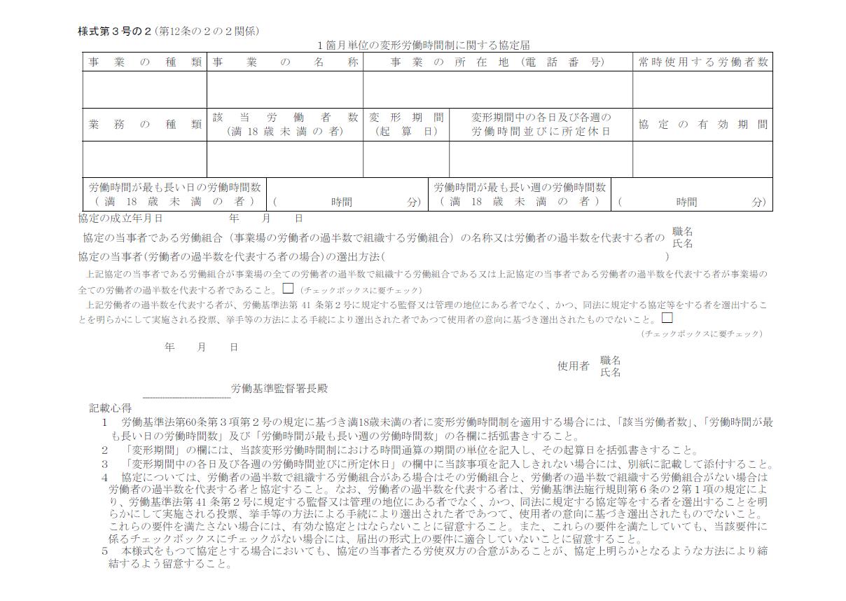 1箇月単位の変形労働時間制に関する協定届 様式第3号の2(第12条の2の2関係)