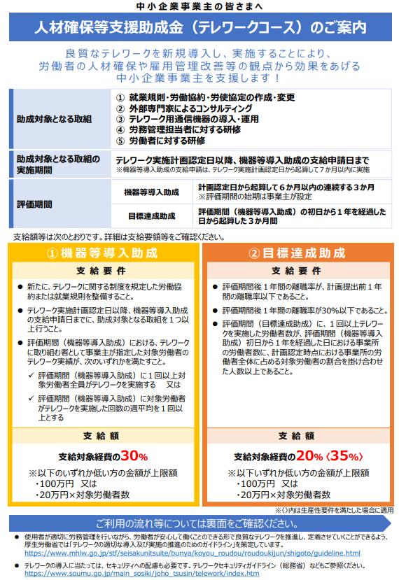 人材確保等支援助成金(テレワークコース)のご案内 令和3年4月1日版